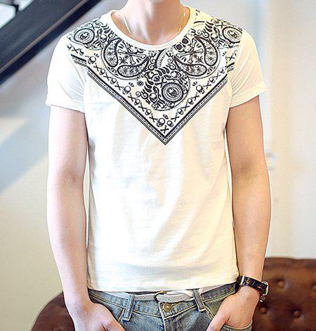 Fashionable Round Neck Ethnic Floral Print Short Sleeves Polyester T-shirt For Men - WHITE L