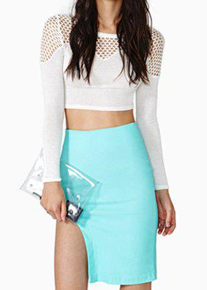 Personalized Solid Color Asymmetric Slimming Women's Skirt - BLUE 2XL