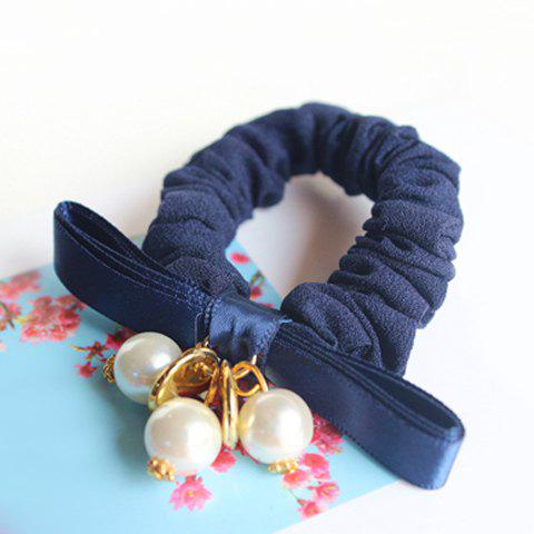 Faux Pearl Embellished Solid Color Elastic Hair Band For Women - PURPLISH BLUE
