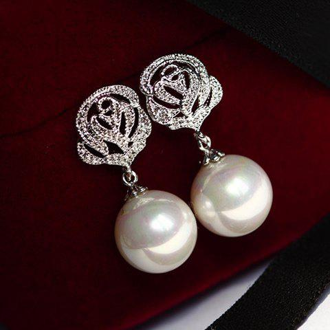 Pair of Chic Hollow Rose Embellished Faux Pearl Pendant Earrings For Women - AS THE PICTURE