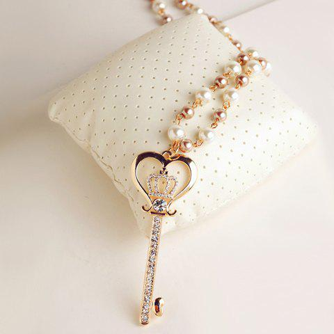 Exquisite Diamante Crown Embellished Key Pendant Sweater Chain Necklace For Women - AS THE PICTURE