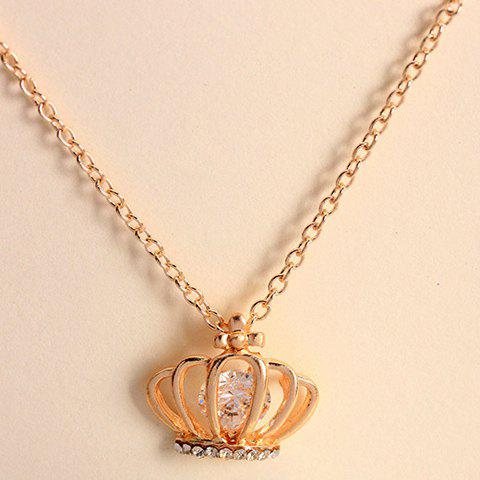 OL Style Faux Gemstone Embellished Crown Pendant Alloy Necklace For Women - COLOR ASSORTED