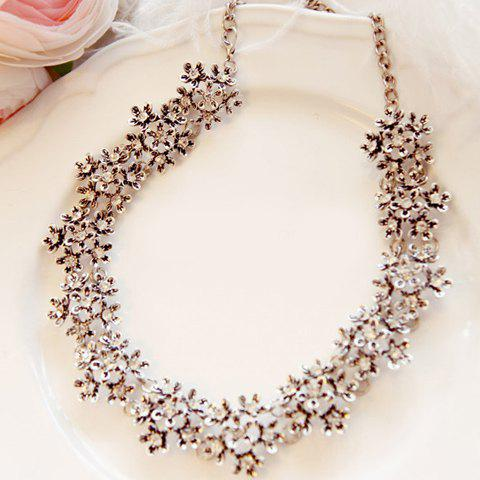 Diamante Flower Alloy Necklace - AS THE PICTURE