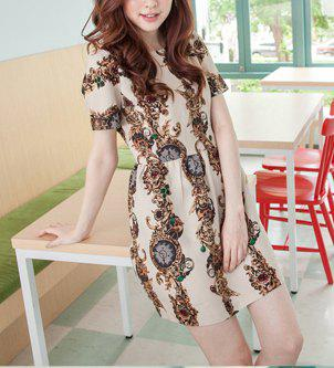 Floral Print Round Collar Short Sleeve Retro Style Women's Dress - AS THE PICTURE ONE SIZE