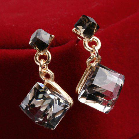 Pair of Charming Colored Faux Crystal Cube Earrings For Women