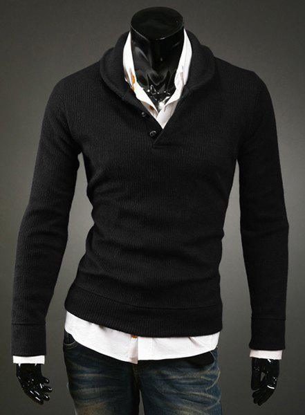 Korean Turn-down Collar Buttons Embellished Solid Color Long Sleeves Cotton Blend Sweater For Men - BLACK M