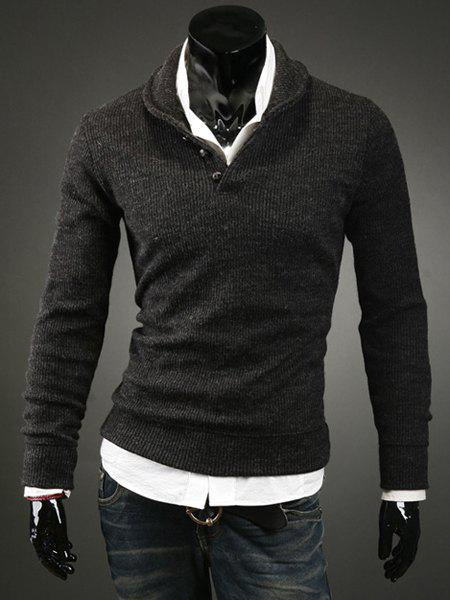 Korean Turn-down Collar Buttons Embellished Solid Color Long Sleeves Cotton Blend Sweater For Men - DEEP GRAY L