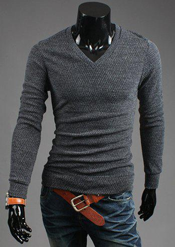 Casual Style V-Neck Solid Color Long Sleeves Cotton Blend Sweater For Men - BLUE GRAY 2XL