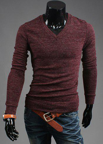Casual Style V-Neck Solid Color Long Sleeves Cotton Blend Sweater For Men - WINE RED L