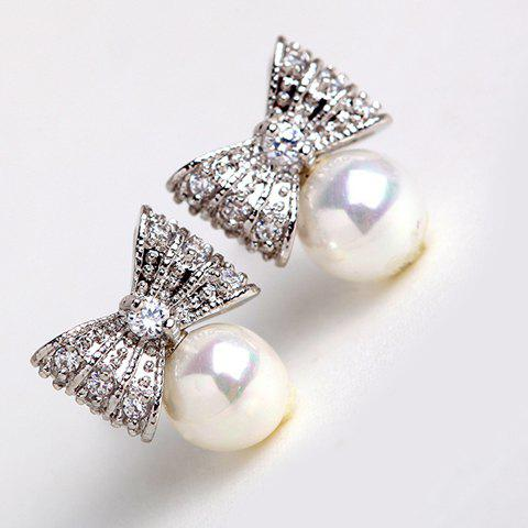 Pair of Chic Faux Pearl Embellished Solid Bowknot Earrings For Women