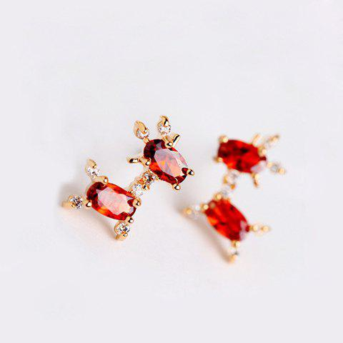 Pair of Mini Faux Gemstone Inlaid Earrings For Women (ONE PAIR) - ROSE MADDER