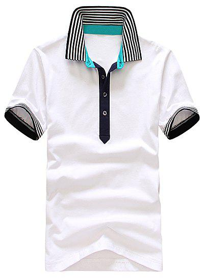 Stylish Turndown Collar Slimming Colorful Stripe Splicing Short Sleeve Men's Cotton Polo Shirt - WHITE XL