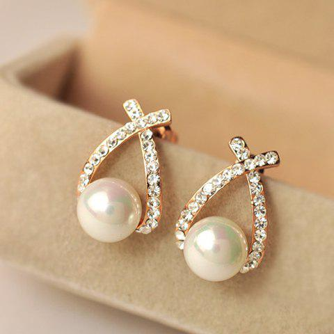 Pair of Faux Pearl Diamante Cross Design Earrings - GOLDEN