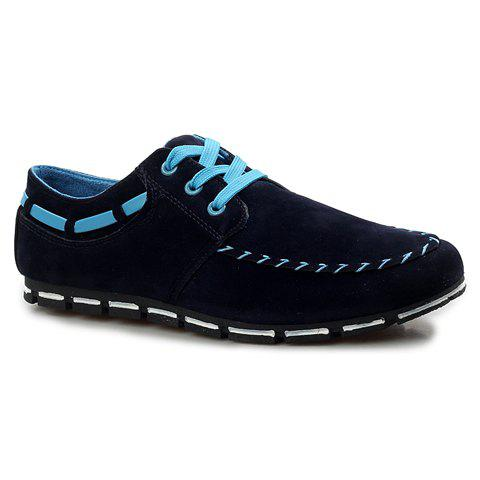 Fashionable Lace-Up and Round Toe Design Casual Shoes For Men - BLUE 40