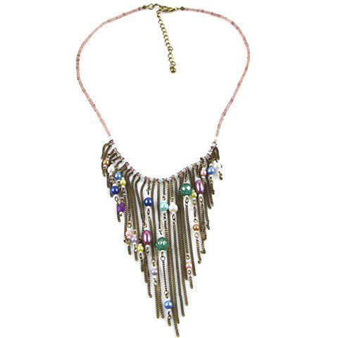 Fashion Colored Beaded Tassel Pendant Alloy Necklace For Women - COLORFUL