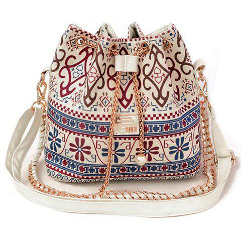 Bohemian Chains and Print Design Shoulder Bag For Women - WHITE