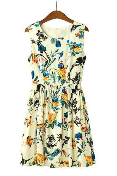 Floral Print Round Collar Sleeveless Pleated Trendy Style Women's Dress - COLORFUL M