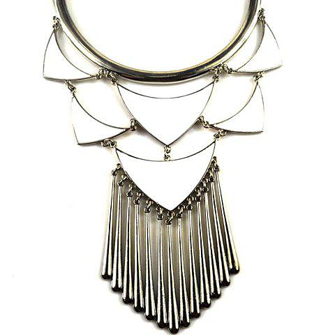 Fashion Hollow Design Tassel Pendant Alloy Necklace For Women - SILVER