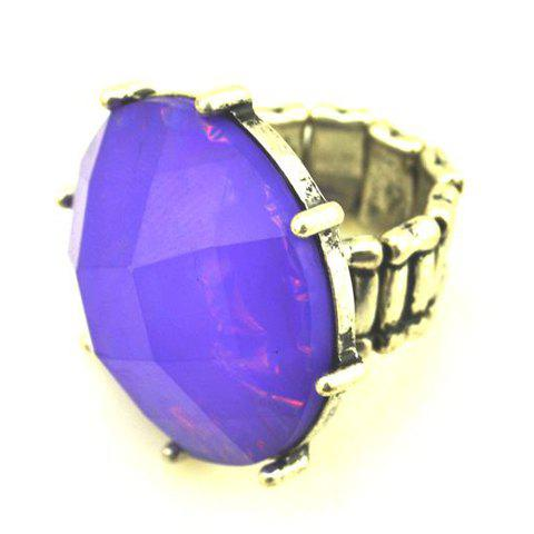 Exquisite Faux Gemstone Embellished Ring With Elasticity For Women - PURPLE ONE SIZE