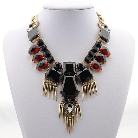 Vintage Rivet Embellished Faux Gemstone Pendant Necklace For Women