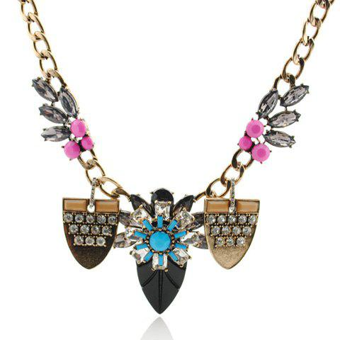 Trendy Colored Flower Embellished Leaf Pendant Necklace For Women - COLORFUL