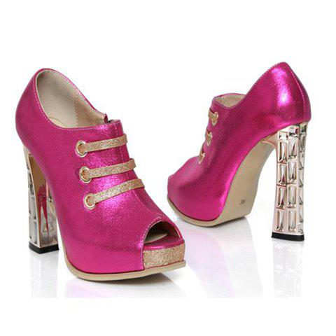 Sexy Chunky Heel and Side Zipper Design Peep Toed Shoes For Women - PLUM 39