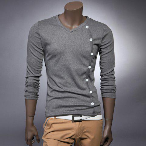 Stylish V-Neck Button Embellished Long Sleeves Cotton T-shirt For Men - GRAY 2XL