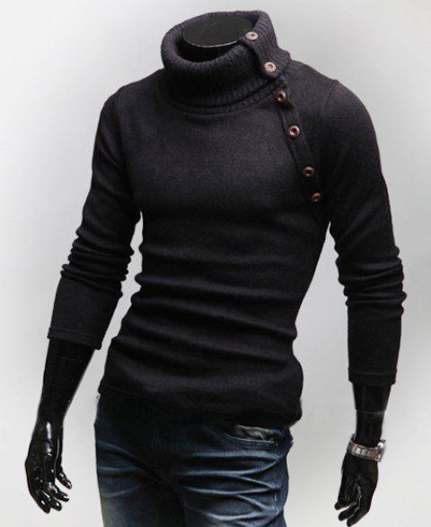 Stylish Turtleneck Multi-button Long Sleeves Wool Blend Sweater For Men - BLACK XL