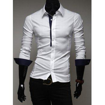 Classic Fitted Shirt Collar Chic Color Splicing Long Sleeves Polyester Shirt For Men - CADETBLUE L