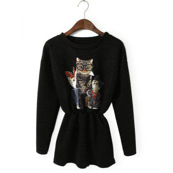 Kittens Pattern Long Sleeve Diamond Check Waisted Corset Stylish Women's Dress