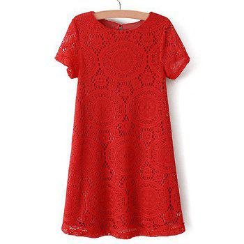 Elegant Scoop Neck Short Sleeve Openwork Lace Dress For Women - RED L