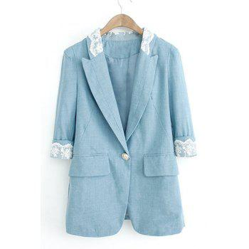 Lace Splicing Lapel Neck Half Sleeve One Button Denim Stylish Women's Blazer
