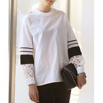 Stylish Round Neck Color Block Long Sleeve Lace Embellished Blouse For Women