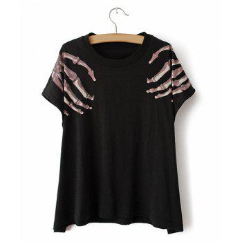 Fashionable Black Scoop Neck Short Sleeve Printed T-shirt For Women - BLACK BLACK