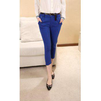 Slimming Narrow Feet Color Block Cotton Blend Cropped Pants