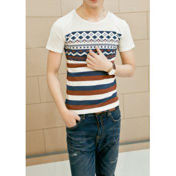 Stylish Round Neck Slimming Stripe Geometric Print Short Sleeve Cotton Blend Men's T-shirt