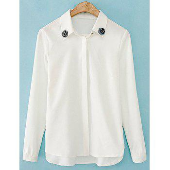 Stylish Turn-Down Collar Long Sleeve Single-Breasted Beading Blouse For Women - WHITE M