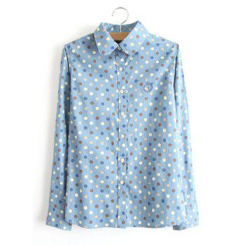 Women's Refreshing Embroidery Polka Dot Print Long Sleeves Polo Collar Shirt