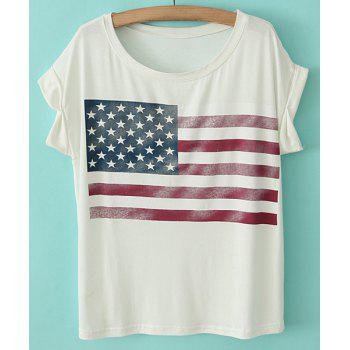 Casual Style Scoop Neck Cotton Star Print Stripe Short Sleeve Women's T-shirt