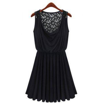 Women's Charming Hook Flower Hollow Out Pleated Sleeveless Black Dress by Dress Lily