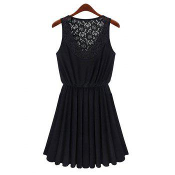 Women's Charming Hook Flower Hollow Out Pleated Sleeveless Black Dress - BLACK M
