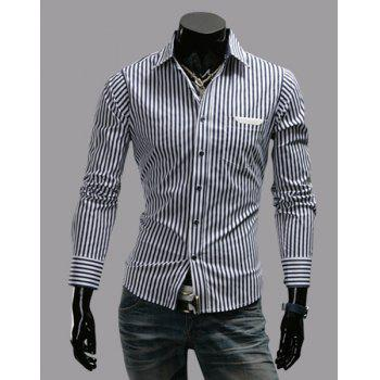 Stylish Shirt Collar Slimming Stripe Pattern PU Leather Design Long Sleeve Men's Polyester Shirt - BLACK BLACK