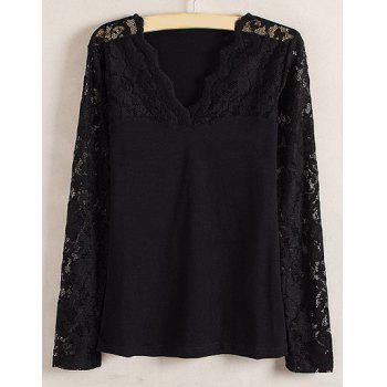 Ladylike Style Slimming Lace Splicing Solid Color V-Neck Long Sleeve Women's Blouse