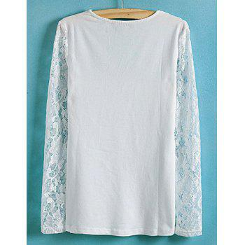 Ladylike Style Slimming Lace Splicing Solid Color V-Neck Long Sleeve Women's Blouse - WHITE S