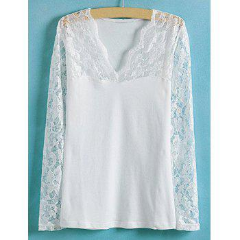 Ladylike Style Slimming Lace Splicing Solid Color V-Neck Long Sleeve Women's Blouse - WHITE WHITE