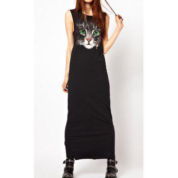 Casual Style Round Collar Sleeveless Cat Pattern Black Women's Dress