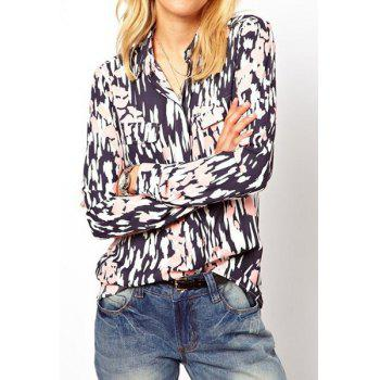 Stylish Shirt Collar Pocket Embellished Long Sleeve Printed Blouse For Women