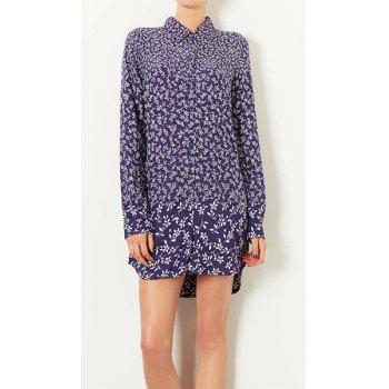 Tiny Floral Print Turn-Down Collar Long Sleeve Retro Style Women's Shirt