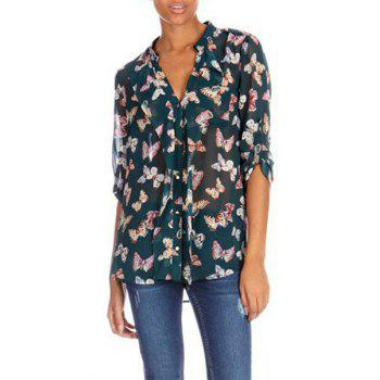 Butterfly Print V-Neck Long Sleeve Chiffon Casual Style Women's Blouse