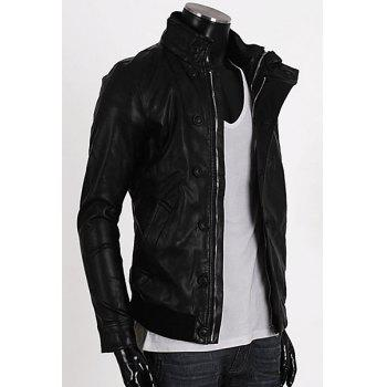 Fashion Stand Collar Rib Splicing Long Sleeves PU Leather Jacket For Men - BLACK 2XL